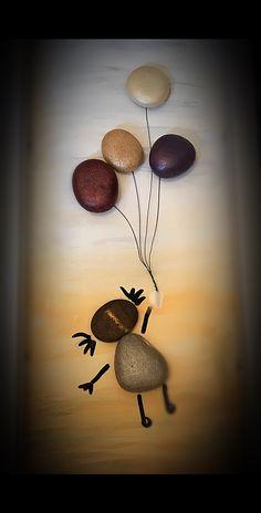 Pebbles art Stone Crafts, Rock Crafts, Arts And Crafts, Condolence, Pebble Pictures, Rock And Pebbles, Rock Painting Designs, Retro Home Decor, Pebble Art