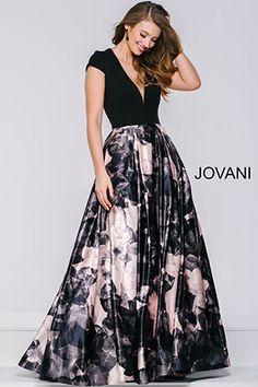 Black Print Cap Sleeve A-Line Satin Dress 42445