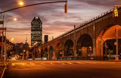 Sunset on Queens blvd with Chrysler Building - Sunnyside, Queens, New York City