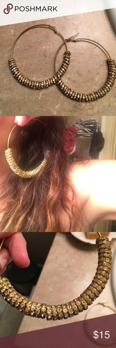 Gold hoops Large gold hoops. I may have worn them once. Great for going out on the town Jewelry Earrings