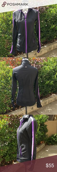 ❤️lululemon Black with purple stripe jacket Lululemon black with purple stripe down sleeve jacket in size 6. I do not know the name of this jacket it is a longer style jacket it's about hip height. It's really cute has the signature thumb holes worn maybe once or twice always washed in cold hung to dry in excellent condition. From a pet free smoke free home lululemon athletica Jackets & Coats