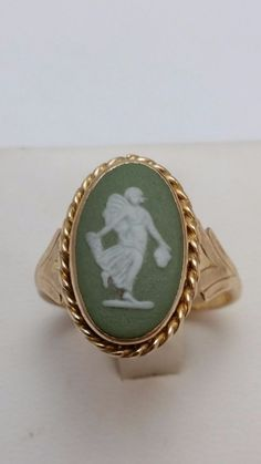 14K SOLID YELLOW GOLD LADIES RING WITH CAMEO WEDGWOOD MADE IN ENGLAND #Unbranded #RING