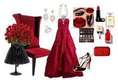"""Red Roses for Valentine Ball"" by cindyanne-mroz-hernandez ❤ liked on Polyvore featuring Oscar de la Renta, Christian Louboutin, Ben-Amun, Arteriors, Little Wardrobe London, Chanel, etsyfru and StylishTurkishPolyvorians"