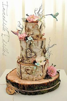 18 Must-See Rustic Woodland Themed Wedding Cakes #countryweddingcakes