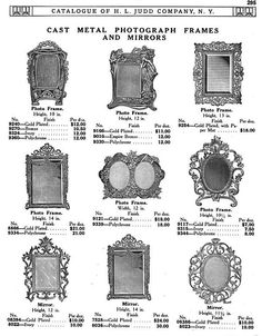 H L JUDD CO., N.Y. cast metal photograph frames and mirrors, Catalogue No. 50, January 1913, pg. 295.