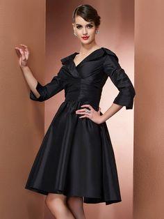 A-Line/Princess V-neck 3/4 Sleeves Short/Mini Taffeta Dresses JollyProm