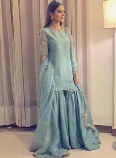 Buy Gray Color Sharara Suit by Akanksha Singh at Fresh Look Fashion Pakistani Fashion Party Wear, Pakistani Bridal Dresses, Pakistani Outfits, Pakistani Clothing, Dress Indian Style, Indian Fashion Dresses, Indian Designer Outfits, Abaya Style, Fashion Outfits