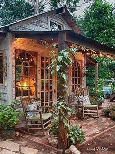 Jennys garden shed made with reclaimed building materials Living Vintage Garden Shed Diy, Diy Shed, Garden Cottage, Cottage Porch, House With Garden, Garden Shed Interiors, Backyard Cottage, Backyard Studio, Backyard Sheds