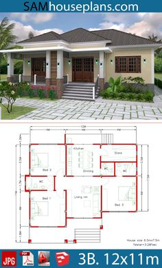 House Plans with 3 Bedrooms - Sam House Plans - House Plans with 3 Bedrooms – Sam House Plans - Three Bedroom House Plan, Family House Plans, New House Plans, House Plans With Photos, Sims House Plans, House Layout Plans, House Construction Plan, Bungalow Floor Plans, Modern Bungalow House Plans