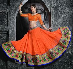 Mruga Contemporary Orange Chaniya Choli  #ChaniyaCholi #Navratri #Orange  #Garba