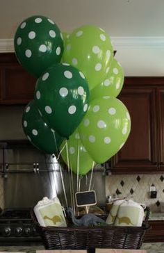 Dinosaur Party:  polka dot balloons, dinosaur goodie bags