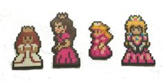 Princess Peach Collection: Features Princess Peach's artistic progression from beginning to present day. Inspired from Super Mario Bros, Super Mario Bros Super Mario All Stars, etc. Hama Beads Mario, Perler Beads, Super Mario All Stars, Nintendo Princess, Perler Patterns, My Little Pony Friendship, Hanging Ornaments, Disney Inspired, Beading Patterns