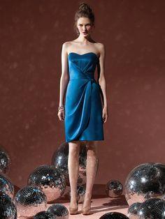A-Line Sweetheart Neckline Strapless Knee Length Satin Dress with Ruffles