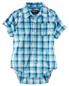 Baby Boy Plaid Button-Front Bodysuit | OshKosh.com