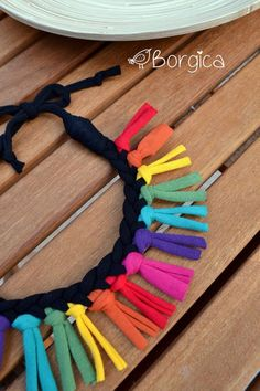 Rainbow Colorful Tribal Fringe Bib Braided Necklace por Borgica: