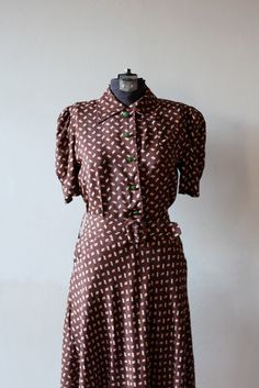 Autumn printed 30s dress