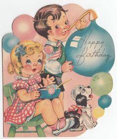 Vintage Greeting Card Children Boy Girl Bubbles Glitter Dog Cute 1950s Die-Cut