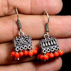 Jhumki Handmade Hook 925 Sterling Silver Plated Designer Earrings Jewelry KED146 #krsnajewels #DropDangle