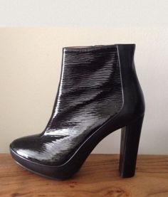 Balenciaga Patent Leather Booties Black Boots $322