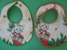 Vintage Upcycled Christmas Kitten Fabric Baby by accentonvintage Upcycled Vintage, Vintage Items, Christmas Material, Christmas Kitten, Bib Pattern, This Is Us Quotes, Babies First Christmas, Recycled Fabric, Handmade Baby