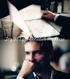 """Try the Eggs Benedict, Mr. Reese."" Only someone who's seen the show would understand why this moment was so heartwarming. [Person of Interest]"