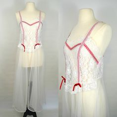 1970s Lingerie Nightgown White Lace Red Ribbon
