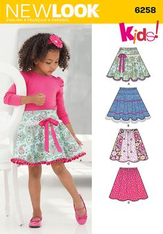 Simplicity Creative Patterns New Look 6258 Child's and Girls' Circle Skirts, A Child's and girls' circle skirts have elastic waistline and are the perfect piece to customize with trims, lace, ribbon, bows and contrast fabrics New Look sewing pattern. Sewing Patterns Girls, Girls Skirt Patterns, Skirt Patterns Sewing, Clothes Patterns, Little Girl Dresses, Girls Dresses, Circle Skirt Pattern, Pants Pattern, New Look Patterns