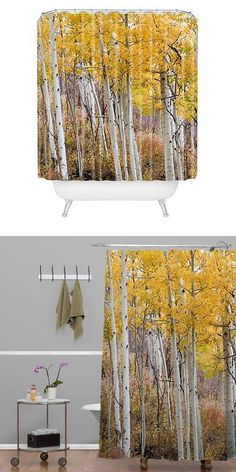 Shower Curtain Hooks 32874: Deny Designs Barbara Sherman Golden Aspens Shower  Curtain 69In X 72In