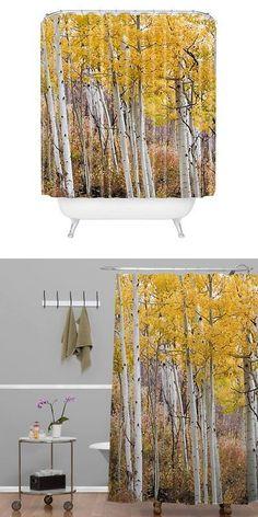 Shower Curtain Hooks 32874: Deny Designs Barbara Sherman Golden Aspens Shower  Curtain 69In X 72In