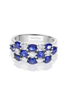 Effy Gemma 14K White Gold Blue Sapphire and Diamond Ring, 2.93 TCW
