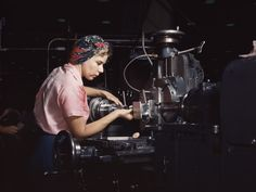 Rare colour photo from the Farm Security Administration and Office of War Information.  Photo by Alfred T. Palmer. Woman machinist, Douglas Aircraft Company, Long Beach, California, 1942.