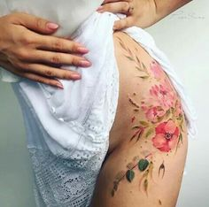 water color flower tattoo hip tattoo