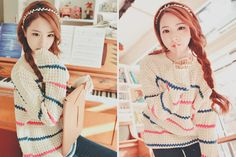 Cream sweater qith blue and pink stipes and skinny jeans Cute Asian Fashion, Korean Street Fashion, Japanese Fashion, Ulzzang Fashion, Ulzzang Girl, Ulzzang Style, Fashion Beauty, Girl Fashion, Fashion Outfits