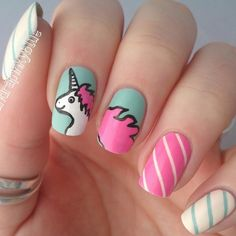 80 ideas to create the best Halloween nail decoration - My Nails Us Nails, Hair And Nails, Unicorn Nails Designs, Diy Unicorn, Kawaii Nails, Party Nails, Manicure Y Pedicure, Halloween Nail Art, Nail Decorations