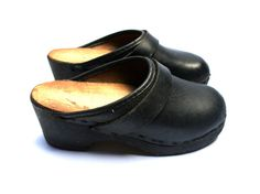 Small children black clogs, Hippie leather and wood sole shoes, Small girl or boy, For use, decor or collectable, Vintage 1970s