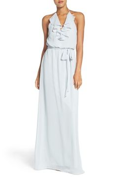nouvelle AMSALE 'Dani' Ruffle Neck V-Neck Halter Gown available at #Nordstrom