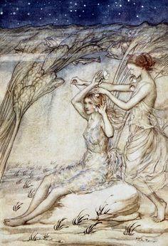 "Sabrina fair / Listen where thou art sitting. ""Comus"" (1921) illustrated by Arthur Rackham"