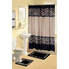 Home Dynamix Boutique Deluxe Shower Curtain and Bath Rug Set: BOU 6 Zebra: 17 Piece Bath Set