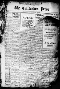 CRITTENDEN COUNTY, Kentucky - Marion -  1919-1922 -The Crittenden Press.« Chronicling America « Library of Congress