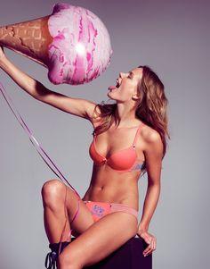>> pink track //  sujetador coral con estampado de rayas y dibujo pantera rosa // www.gisela.com