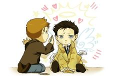Supernatural/ Dean and Castiel. Across the web I have followed your trail and I will keep doing so until I find you, Oh Great Mystery Artist Of OVERWHELIMG CUTE!!!
