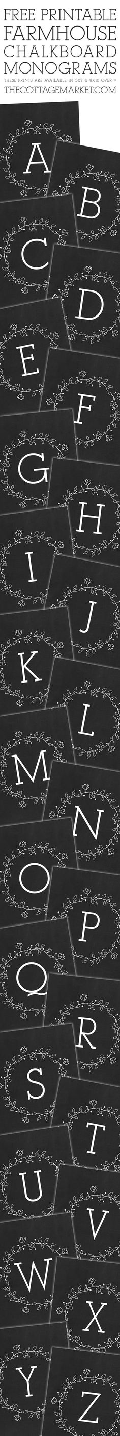 Free Printable Farmhouse Chalkboard Monograms (The Cottage Market) Printable Labels, Printable Wall Art, Free Printables, Free Printable Monogram, Vintage Diy, Web Design, Paper Crafts, Diy Crafts, Subway Art