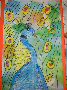 The Modern Art Smock: 4th grade Tissue Paper Painting Peacock Portraits