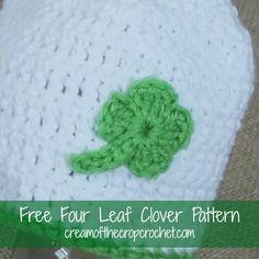Cream Of The Crop Crochet ~ Four Leaf Clover Applique {Free Crochet Pattern}