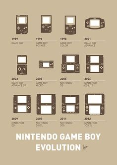 """""""My Evolution Nintendo game boy minimal poster"""" by Chungkong Art: From Chuck Taylors to Air JordansFrom The Game boy to Apple One to i-macFrom the olo to the thruster games nintendo Nintendo 2ds, Kirby Nintendo, Nintendo Games, Nintendo Consoles, Nintendo Ds Lite, Nintendo Switch, Arcade Games, Gameboy Games, Super Nintendo"""