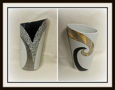 Vase assimétrique noir, or et platine