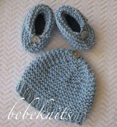 Bebeknits Simple French Style Garter Stitch Baby Set Knitting Pattern bbfd8326b64