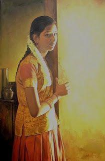 Realistic Oil Painting By Elayaraja Indian Artist, Indian Paintings, Realistic Oil Painting, Art Painting, Female Art Painting, Painting, Realistic Art, Indie Art, Canvas Painting