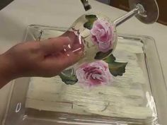Painting A Rose On a Ivory Crackle Background on a Wine Glass Video - YouTube