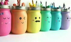 """You'll put a big smile on your kids' faces with these Kawaii Inspired DIY Painted Mason Jars. Kawaii is the Japanese term for """"cute"""" or """"charming,"""" and it's all too fitting for this easy mason jar craft! Kids Crafts, Diy And Crafts, Craft Projects, School Projects, Easy Crafts, School Ideas, Pot Mason Diy, Mason Jar Crafts, Bottle Crafts"""